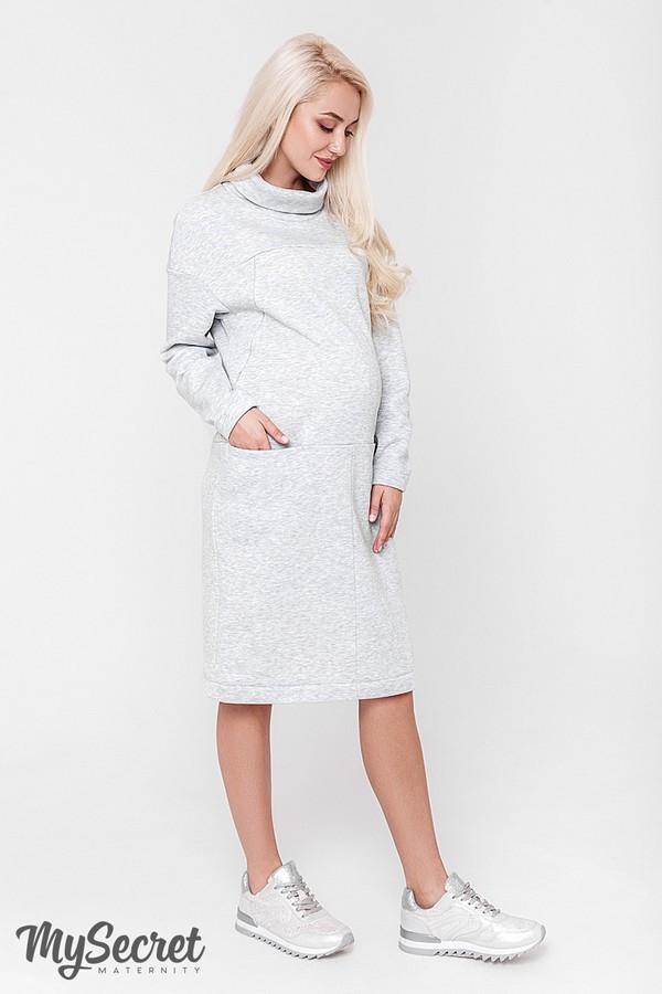 fd8b8e091fea Очень теплое платье для беременных и кормящих SOLLY, из теплого трикотажа  трехнитка с начесом,
