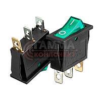 Переключатель KCD3-102/N, ON-OFF, 10А (3pin), 250V, зеленый
