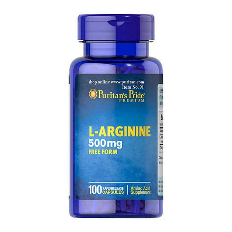Puritan's PrideL-Arginine 500 mg 100 caps, фото 2