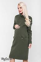 Очень теплое платье для беременных и кормящих SOLLY, из теплого трикотажа трехнитка с начесом, хаки, фото 1