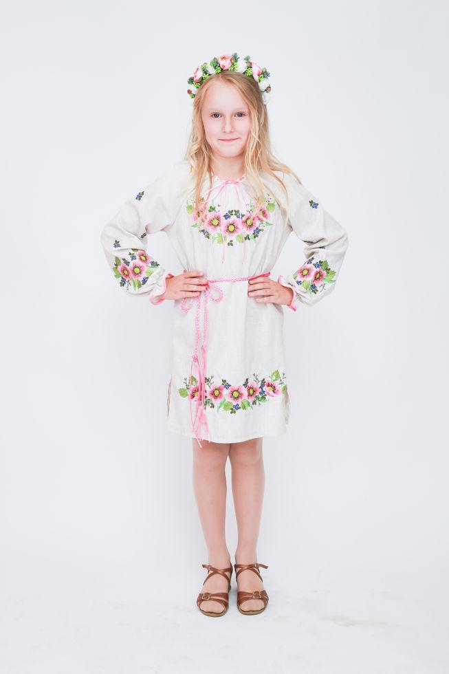 Платье Волинські візерунки  для девочки   вышитое Шиповник розовый 128 см серое