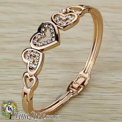 Браслет женский сердце позолота 18К сердца кристаллы цирконий Изысканный  Шарм Ексклюзив