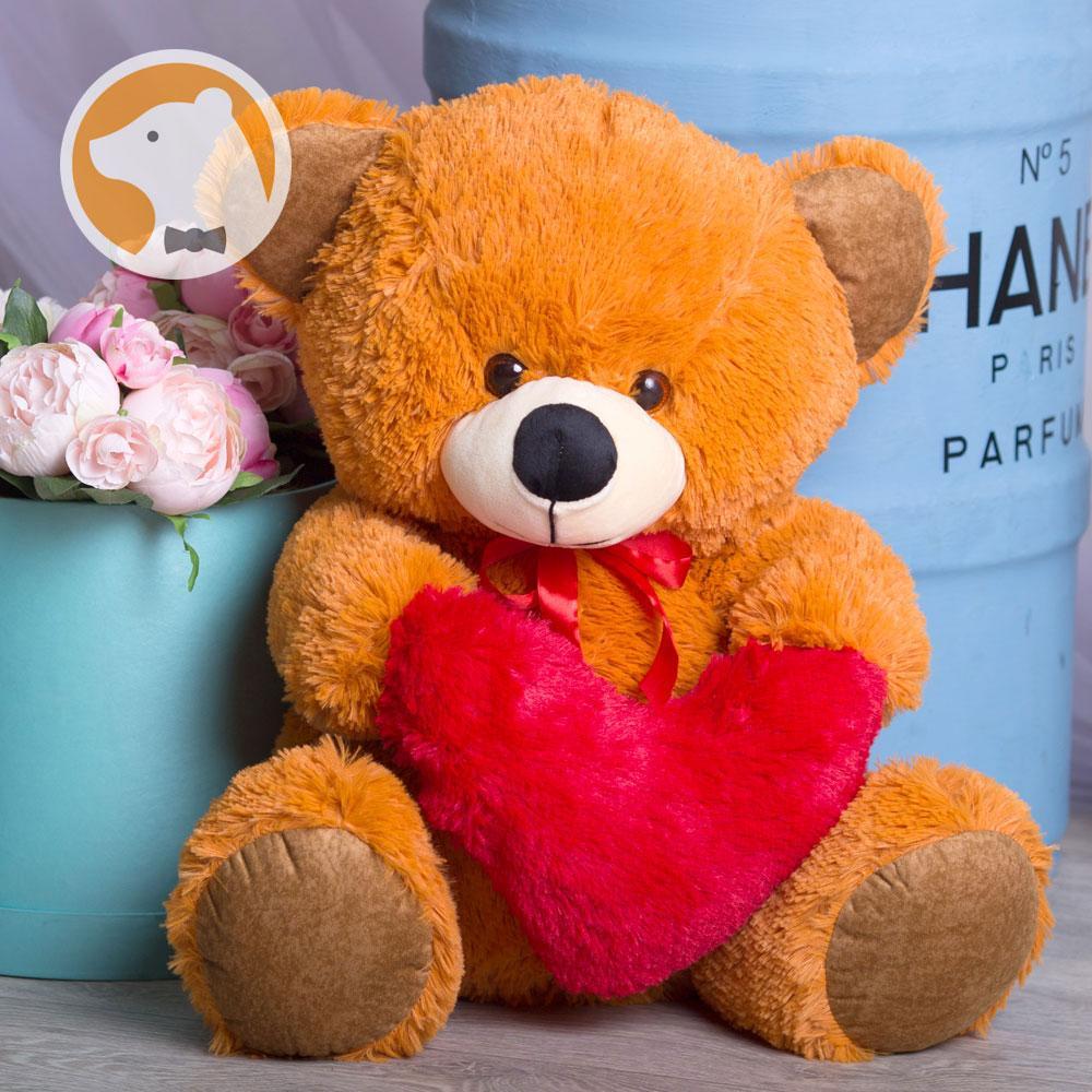Плюшевый мишка Томми с сердцем, 70 см, темно-медовый