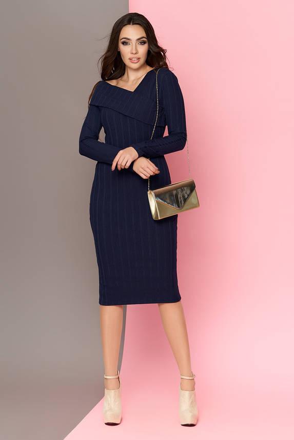 Трикотажное платье футляр 42-52р синее, фото 2