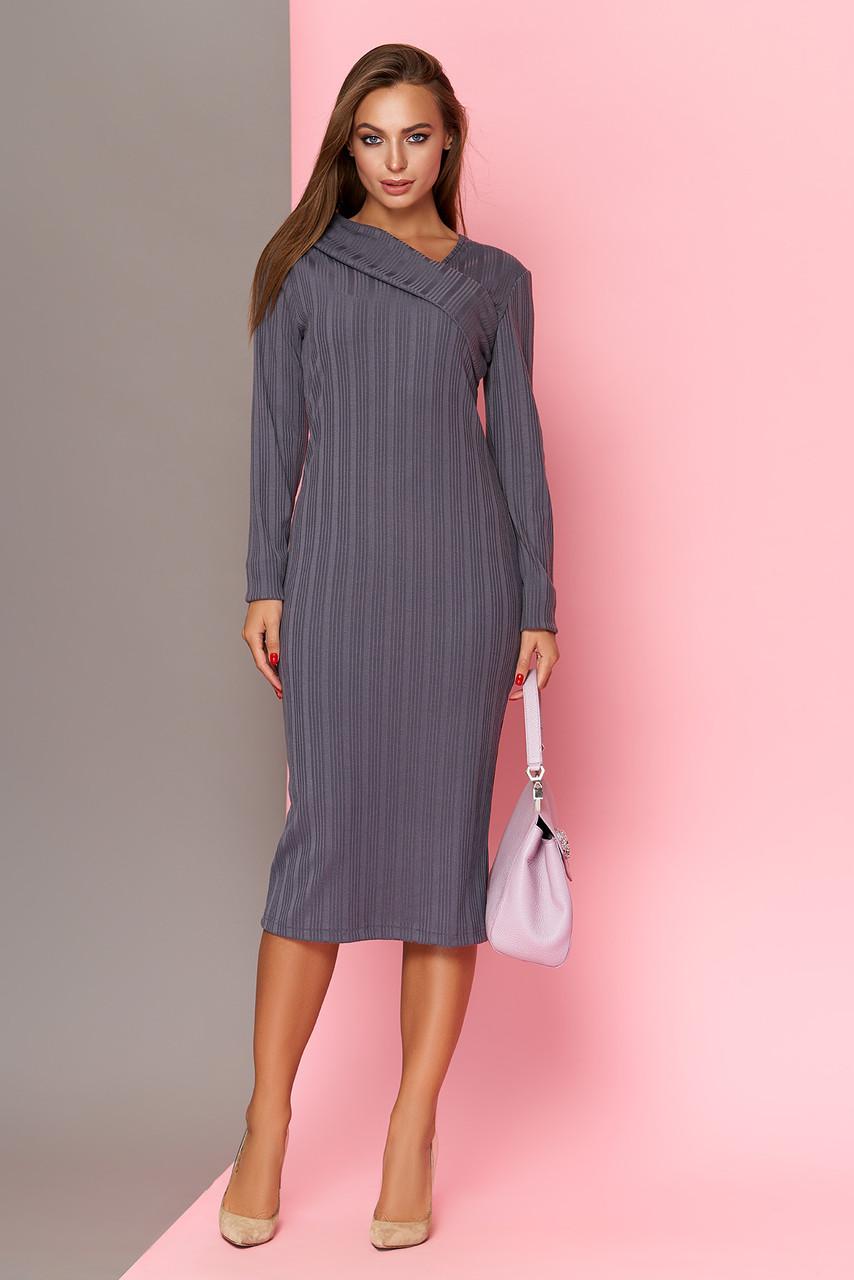 Трикотажное платье футляр 42-52р серое