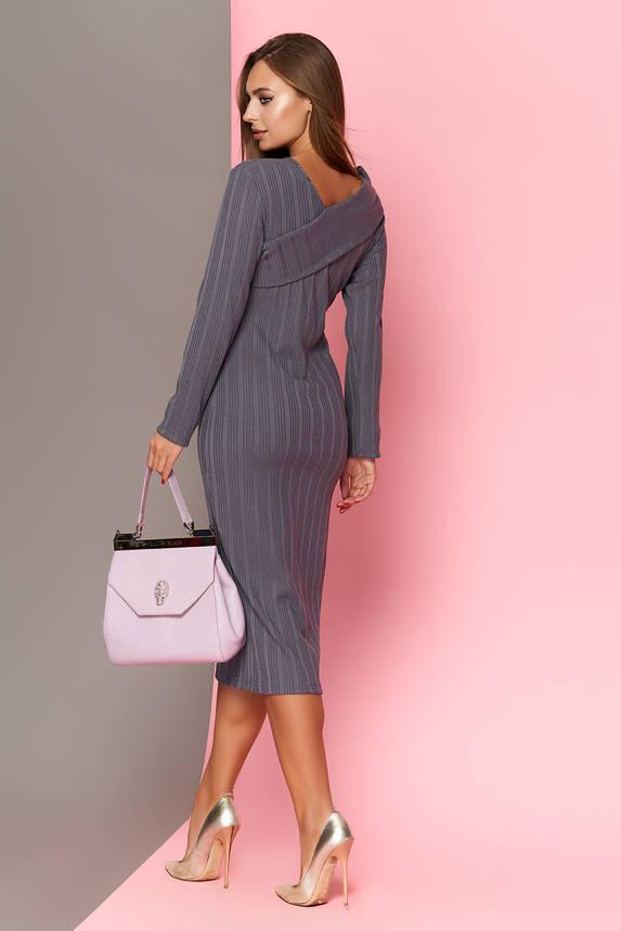 Трикотажное платье футляр 42-52р серое, фото 2