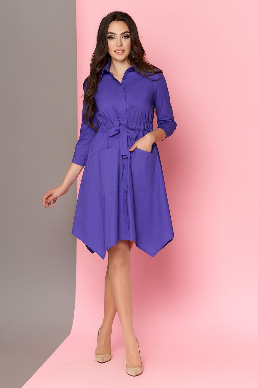Платье-рубашка с поясом сиреневое