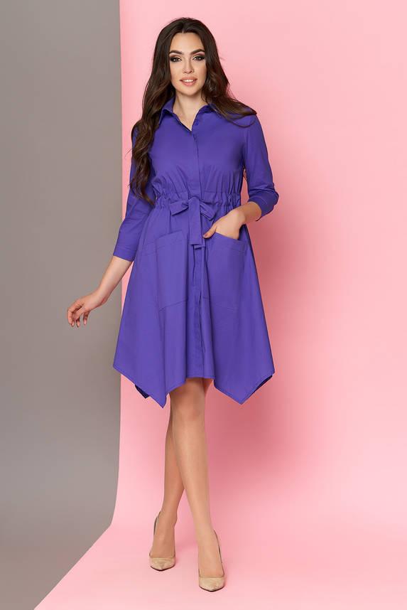 Платье-рубашка с поясом сиреневое, фото 2