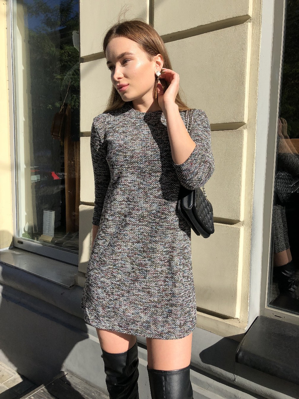 f787cb7ac70 Женское платье под твид прямое рукава три четверти  продажа