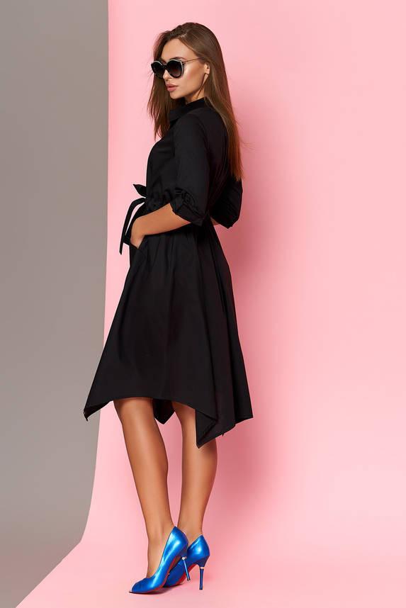 Платье-рубашка с поясом черное, фото 2