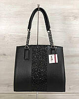 Черная сумка саквояж 32104 дамская с вставкой с блестками, фото 1