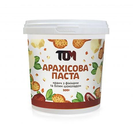 Арахисовая паста ТОМ - Кранч с финиками и белым шоколадом (500 гр)