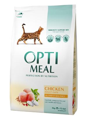 Сухой корм OPTIMEAL для взрослых кошек, с курицей 4кг
