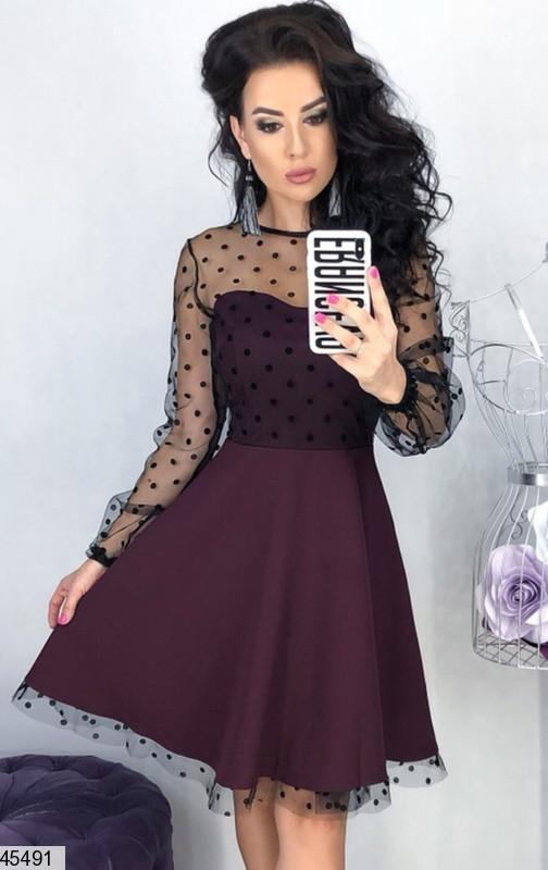 Нарядное платье мини юбка солнце клеш рукав длинный прозрачный бордовое