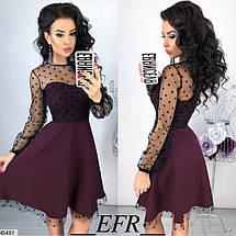 Нарядное платье мини юбка солнце клеш рукав длинный прозрачный бордовое, фото 2