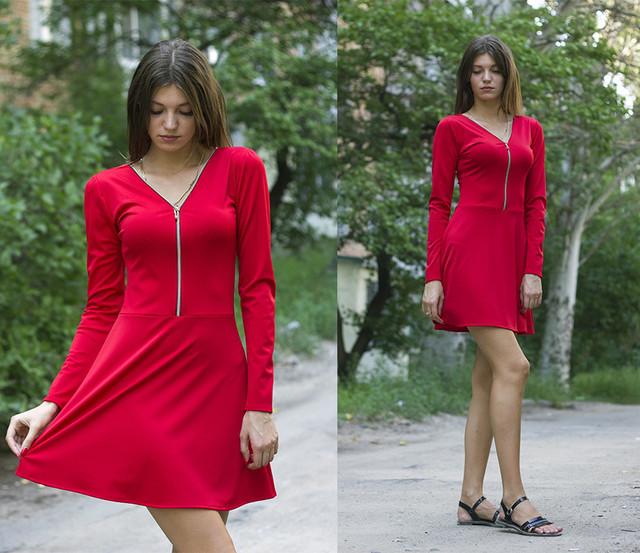 c44cfb1352fd609 Стильно Платье со Змейкой 38, Красный — в Категории