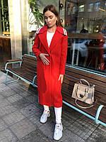 Женское длинное пальто кашемировое красное стильное, фото 1