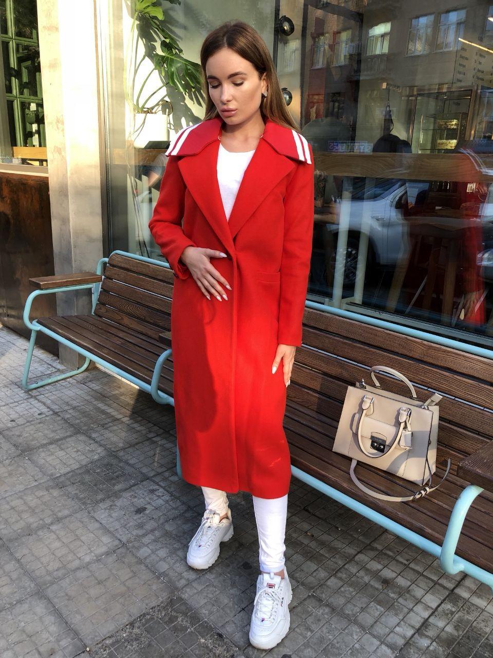 Женское длинное пальто кашемировое красное стильное