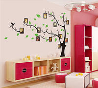 Интерьерная  наклейка  на стену Дерево черное на сторону с фоторамками  (отличное качество)