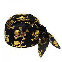 Бандама пиратская с черепами, цвет золото,  шляпа пирата - аксессуар для вашего образа