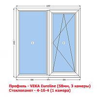 VEKA (58мм) Окно металлопластиковое 1300х1400