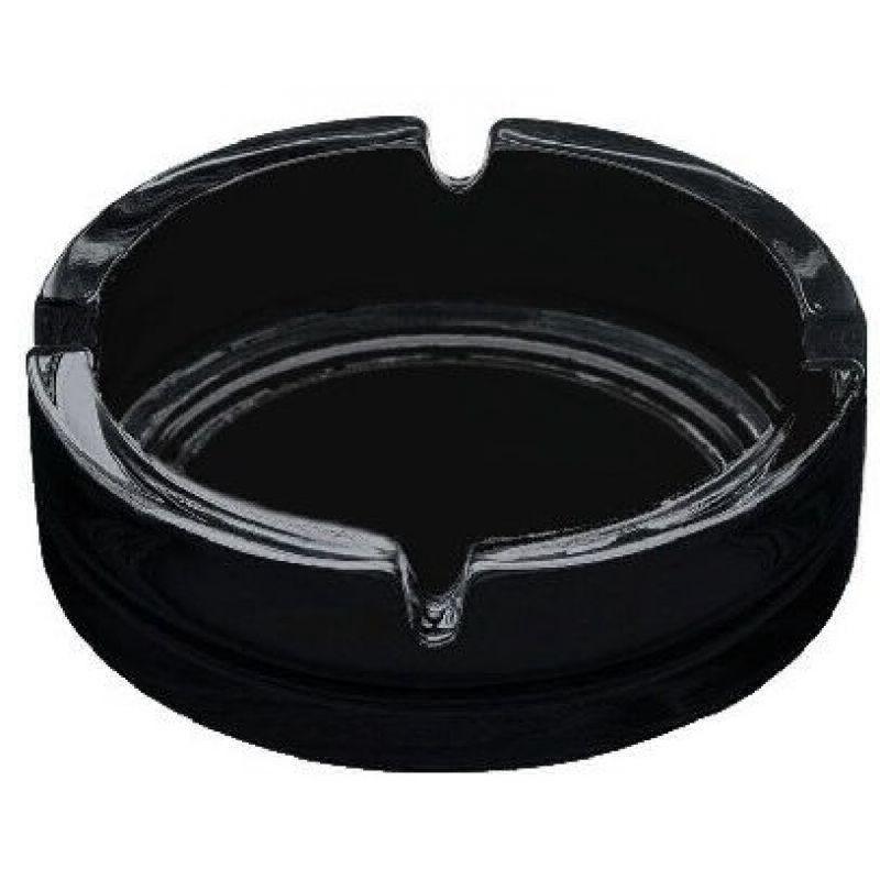 Набор 2шт пепельница стеклянная черная круглая Pasabahce