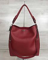 Красная сумка-мешок W54122 с ремешком через плечо, фото 1