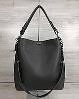 Серая женская сумка мешок 54121 шоппер с одной ручкой на плечо, фото 1