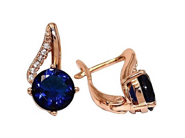 Серьги фирмы XР. Цвет:позолота с кр.от. Камни: синий  и белый циркон. Высота серьги: 1.5 см. Ширина: 8 мм.