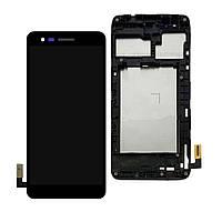 Дисплей (экран) для LG M160 K4 (2017)/M150 Phoenix 3/M151/M154 + тачскрин, черный, с передней панелью, оригинал