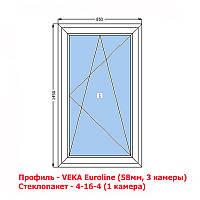 VEKA (58мм) Окно металлопластиковое 850х1450 поворотно-откидное