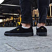 Мужские кроссовки Puma suede triple black gold. Живое фото (Реплика ААА+)