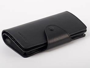 Классический мужской черный кошелек-портмоне из натуральной кожи FC-0210-L1 .