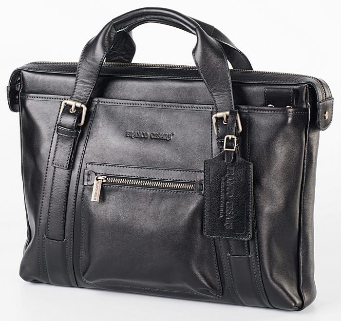 Портфель кожаный мужской чёрный FC-0111-L1 бренда FRANCO CESARE