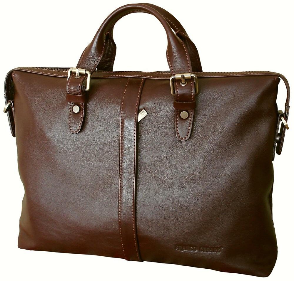 Мужской кожаный портфель для документов коричневый FC-0114-L2 бренда FRANCO CESARE