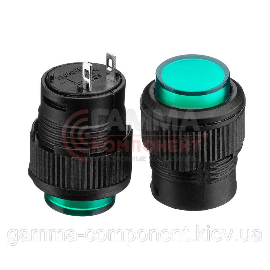 Кнопка нажимная R16-503AD, ON-OFF, зеленая LED