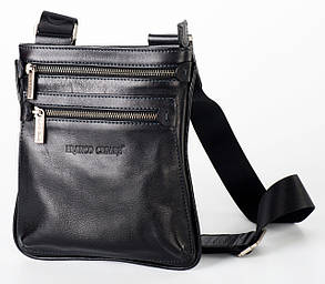 Черная кожаная наплечная сумка  FC-0311-L1