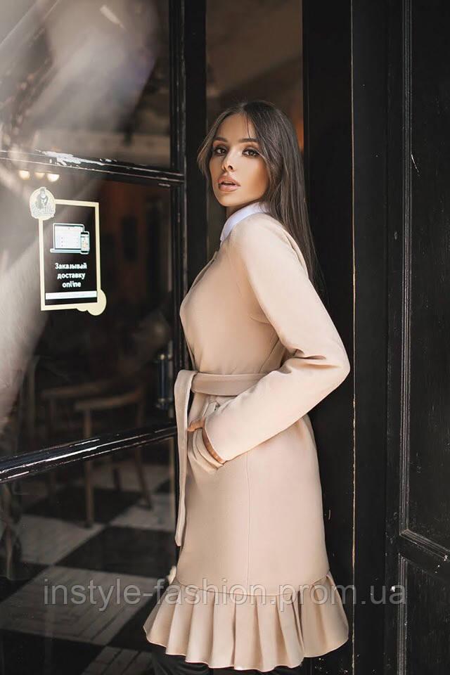 Женское модное пальто материал турецкий кашемир на подкладке бежевое