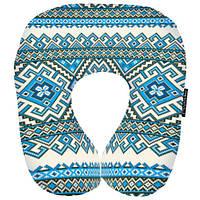 Дорожня подушка Орнамент блакитний 32х30 см (DOP_UKR011)
