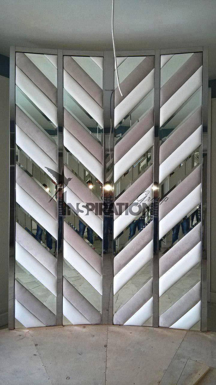 Мягкие стеновые панели в сочетании с металлом, деревом, зеркалом и пластиком