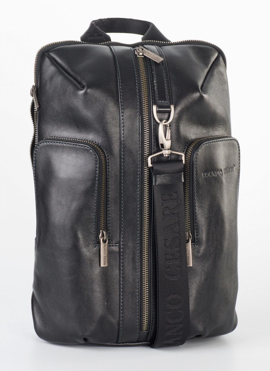 Стильный чёрный кожаный рюкзак FC-0416-L1 бренда FRANCO CESARE