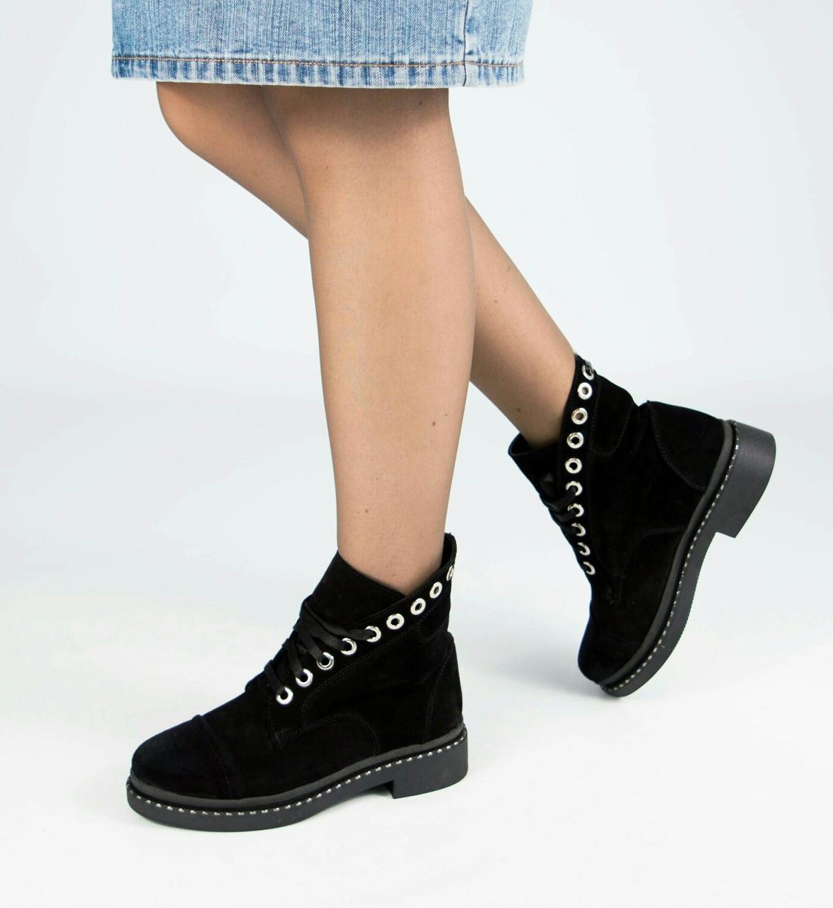 Женские ботинки из натуральной замши со шнуровкой 36-40 р