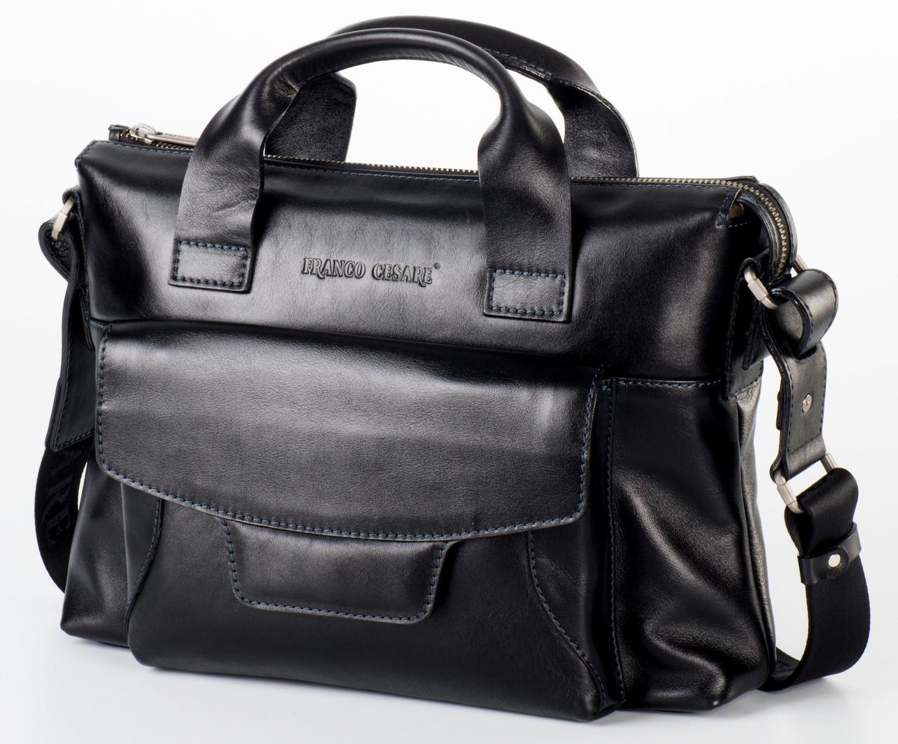 Практичная мужская сумка из чёрной кожи FC-3132-L1 бренда FRANCO CESARE