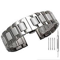 Браслет для часов стальной с керамическими звеньями, литой, глянец. Белый. 20 мм