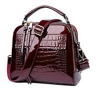 Женская кожаная сумка Fly One бордовая