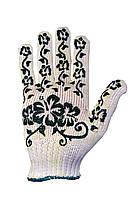 Трикотажні рукавиці з ПВХ Silk 1101квіти