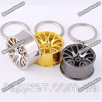 Брелок на ключи автомобильный литой диск. Брелок серебристого цвета., фото 3