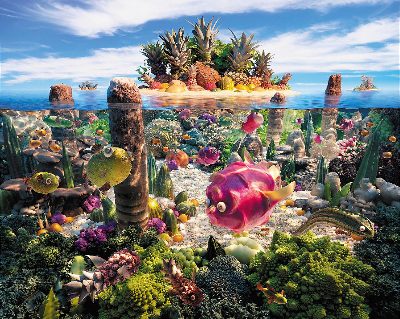 """Картина на стекле """"Фруктовый остров"""""""