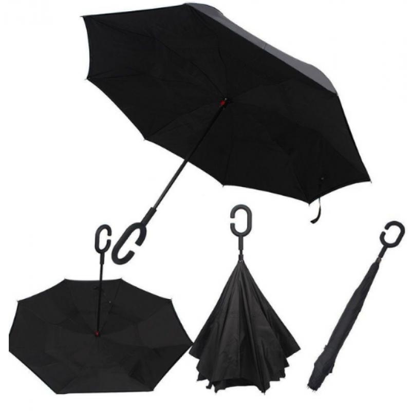 Зонты обратного сложения черный (зонт наоборот, зонт антиветер, антизонт, Up-Brella)