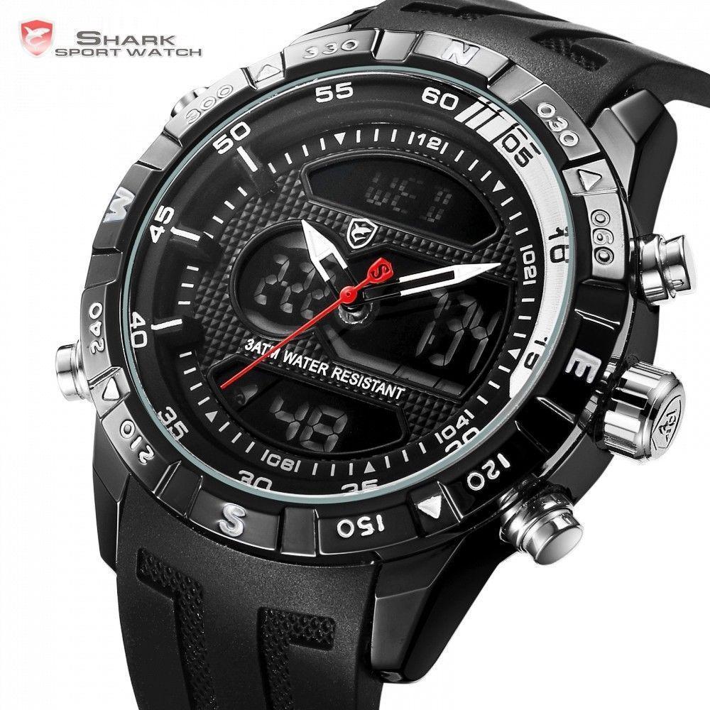 Мужские наручные часы Shark SH597 Men's Black&Red Rubber Strap LED Dual